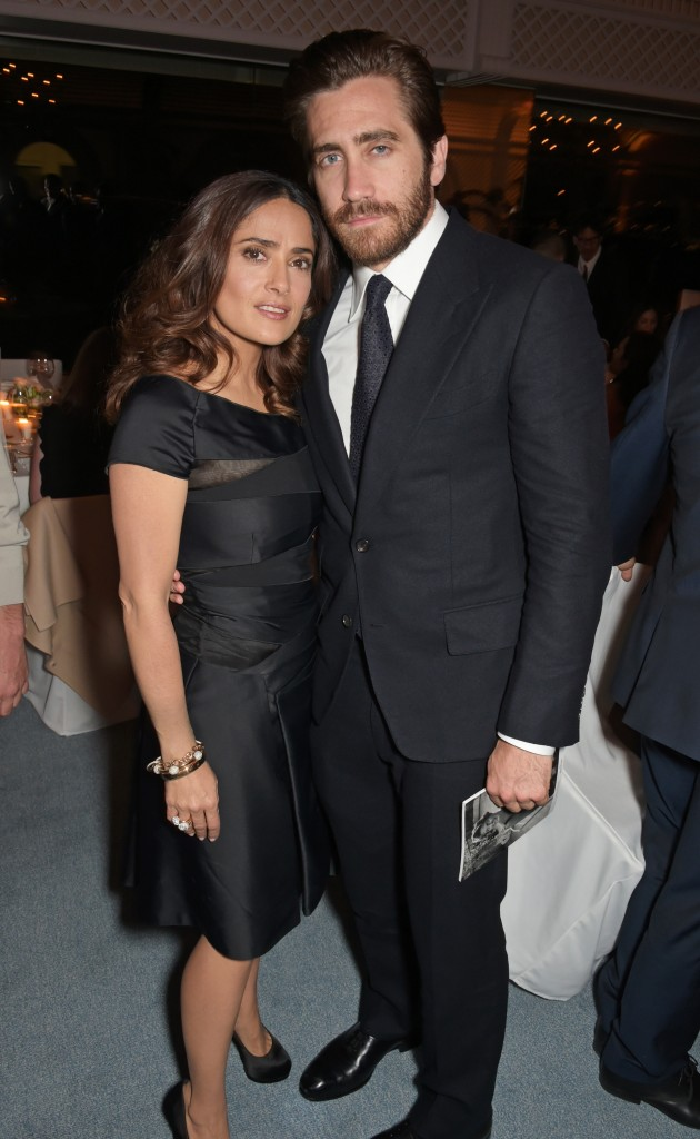 Salma Hayek and Jake Gyllenhaal attend the filmmakers dinner Finch & Partners and Jaeger-LeCoultre. Antibes. Getty images