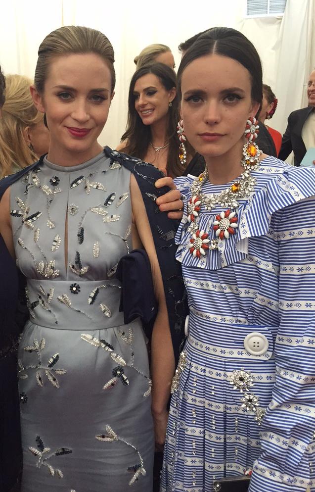 Stacy Martin_MIU MIU_Emily Blunt_PRADA_2015 Metropolitan Museum's Costume Institute Gala_May 4 2015.j