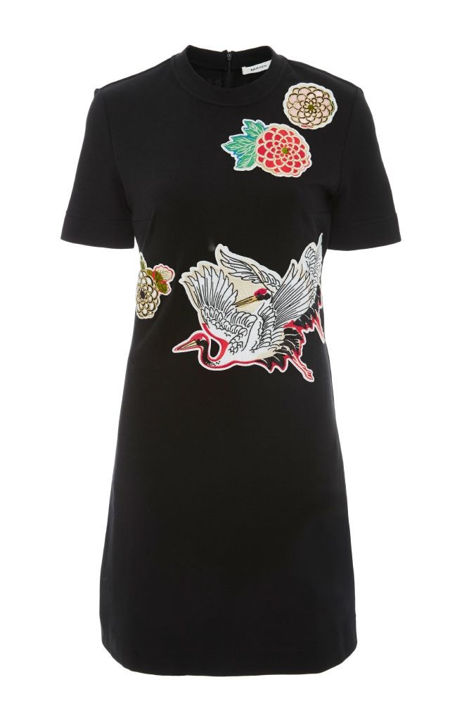 resized_Carven BLACK SHORT SLEEVE DRESS WITH APPLIQUES $390