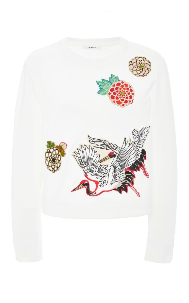 resized_Carven CREW NECK TOP WITH BIRD APPLIQUES $380
