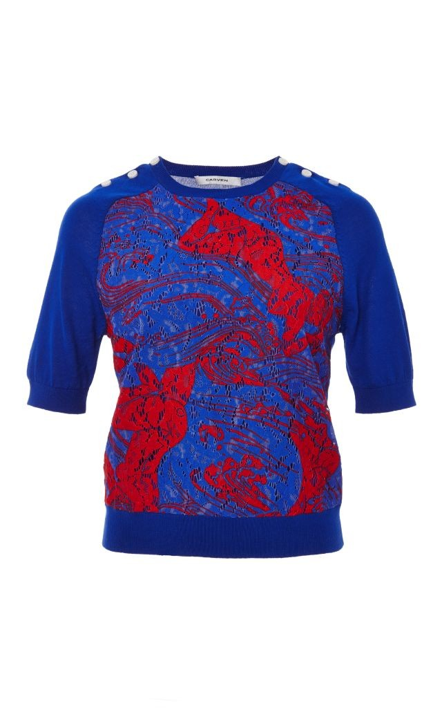 resized_Carven LACE FRONT SHORT SLEEVE KNIT TOP $520