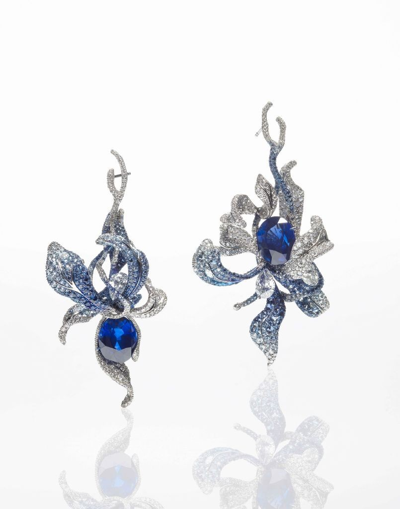 resized_Cindy Chao Sapphire Orchid Earrings (SE00031)