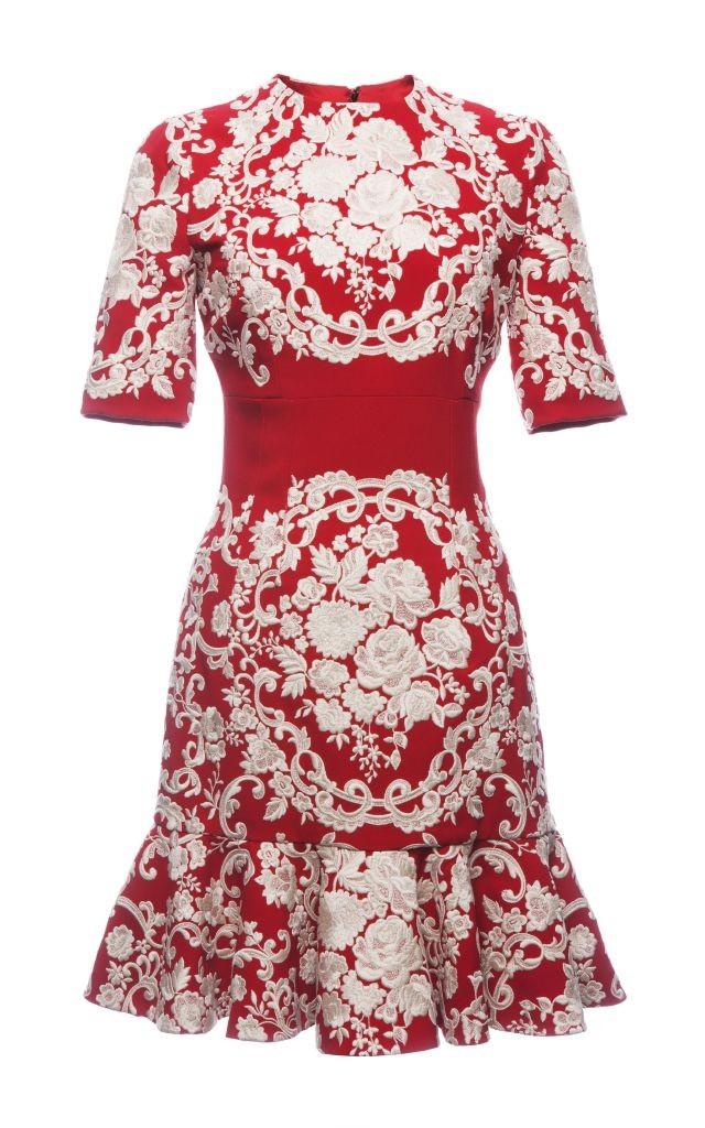 resized_Dolce & Gabbana EMBROIDERED CADY FLOUNCED HEM DRESS $6,995