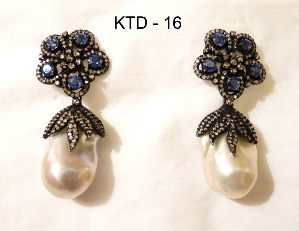 resized_KTD 16 TANZANITE & PEARL DROPS EARRING