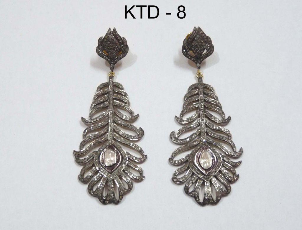resized_KTD 8 DIAMOND POLKI FEATHER EARRING