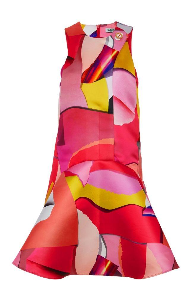 resized_Kenzo PAPER DUCHESS PRINTED SATIN SLEEVELESS DRESS $1,140