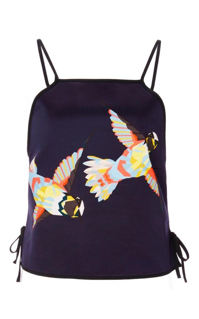 resized_MSGM BLUE COTTON BIRD PRINTED CAMISOLE $375