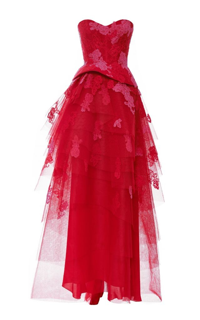 resized_Monique Lhuillier SILK LACE EMBROIDERED STRAPLESS GOWN WITH TIERED SKIRT $4,995