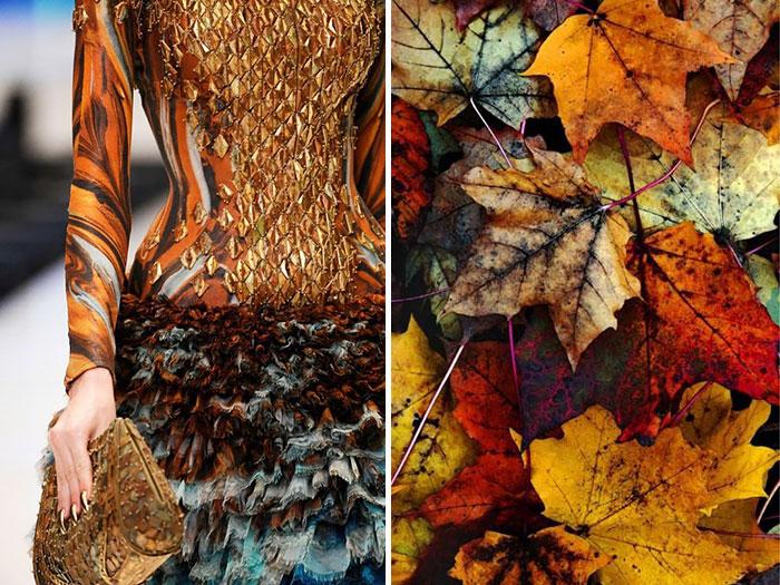 أوراق الخريف مع فستان من مجموعة ألكساندر ماكوين لصيف 2010