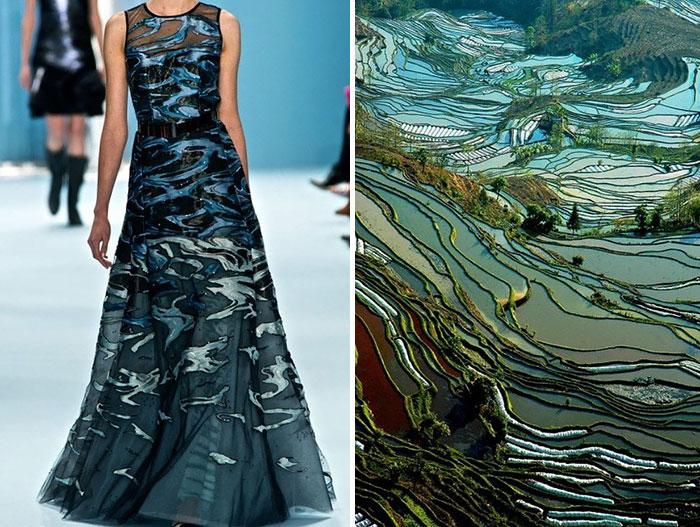 حقول الرز في الصين مع فستان من مجموعة كارولينا هيريرا لموسم خريف وشتاء 2015