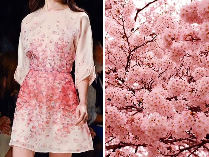 زهور الكرز وفستان من مجموعة بلومارين لصيف 2015