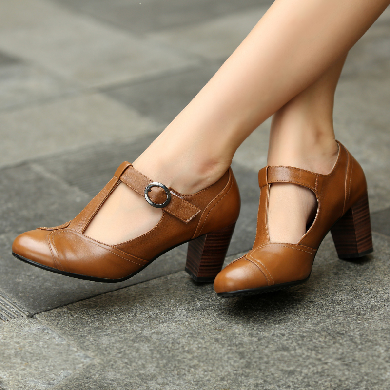 Black-Brown-British-Style-Work-T-Strap-Women-Genuine-Leather-Vintage-Shoes-Ladies-High-Chunky-Heel