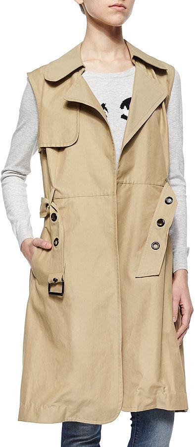 Milly-Sleeveless-Belted-Waterproof-Trench-Coat