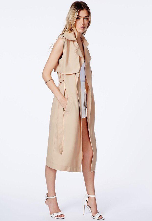 Missguided-Camel-Sleeveless-Trench-Coat