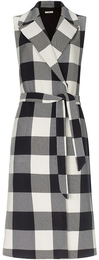 Tome-Black-Plaid-Sleeveless-Trench-Coat