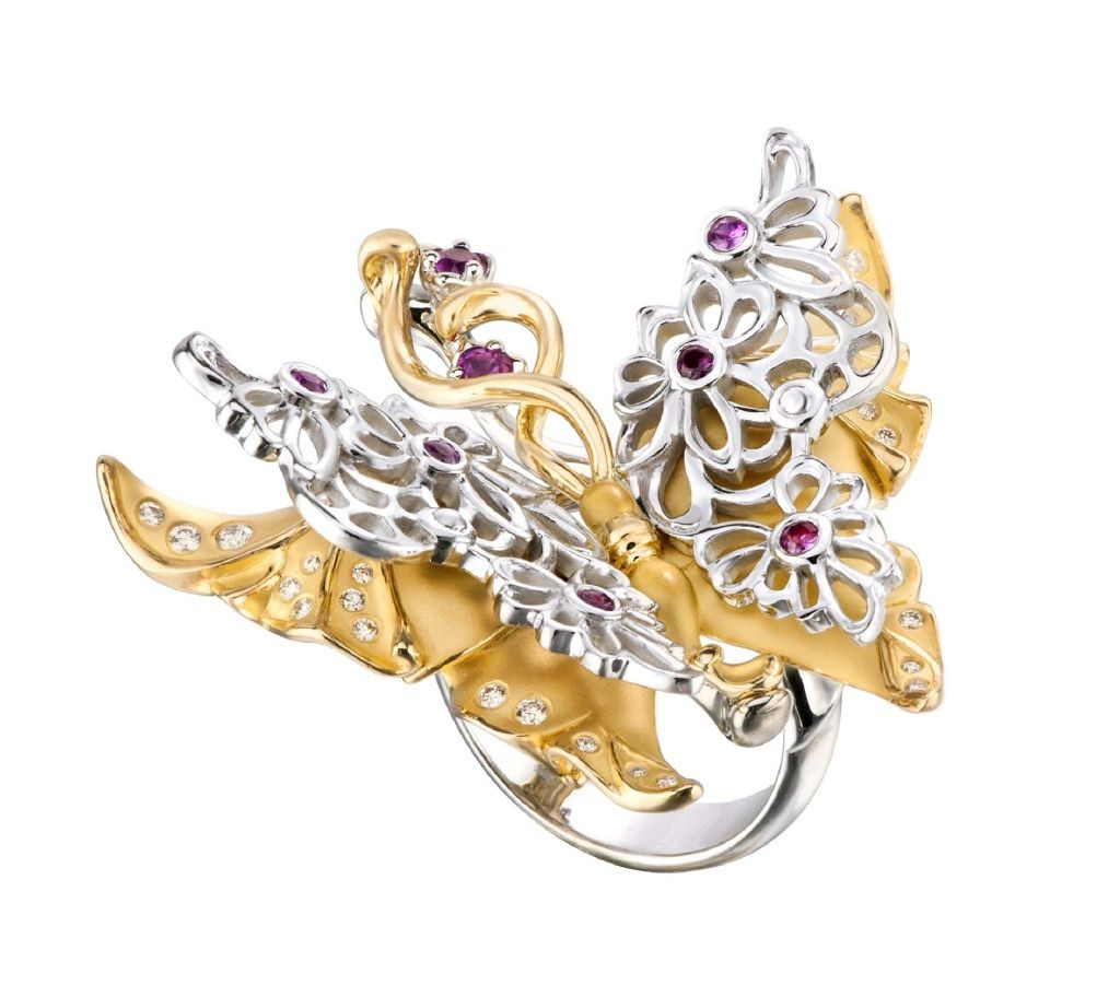 resized_DA13916 030101 Carrera y Carrera Alegoria ring in yellow and white gold with diamonds and pink sapphires