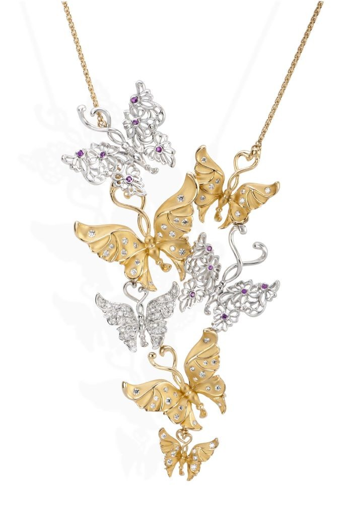 resized_DA13918030101 Carrera y Carrera Alegoria necklace in yellow and white gold with diamonds and pink sapphires