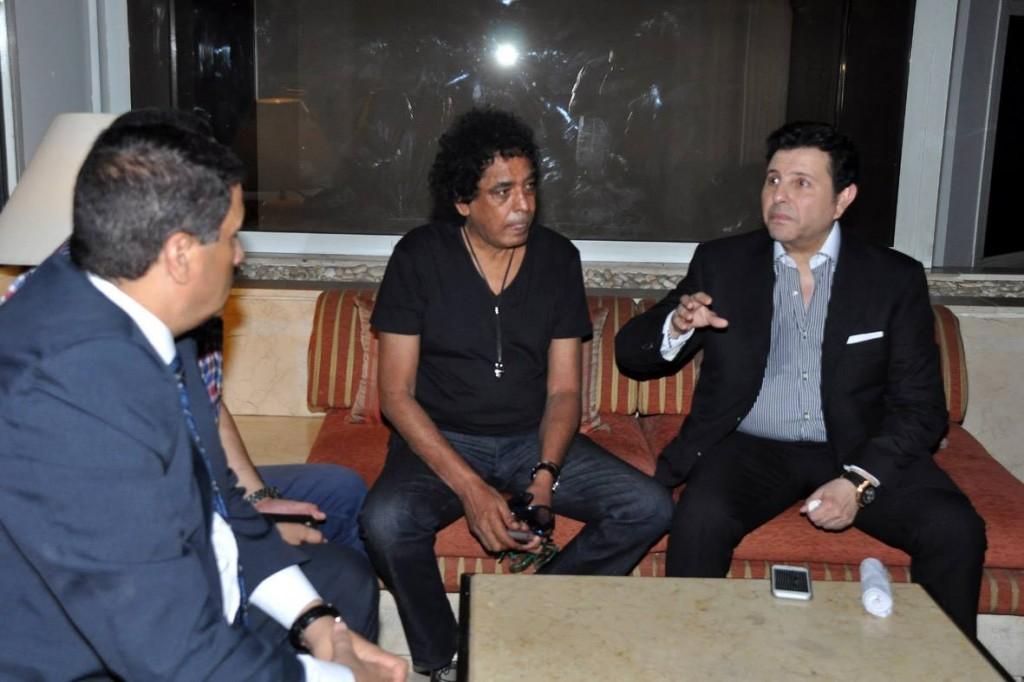 هانى شاكر ومحمد منير على هامش المؤتمر الصحفى