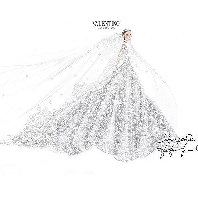 Nicky-shared-sketch-her-stunning-gown-writing-Thank-you