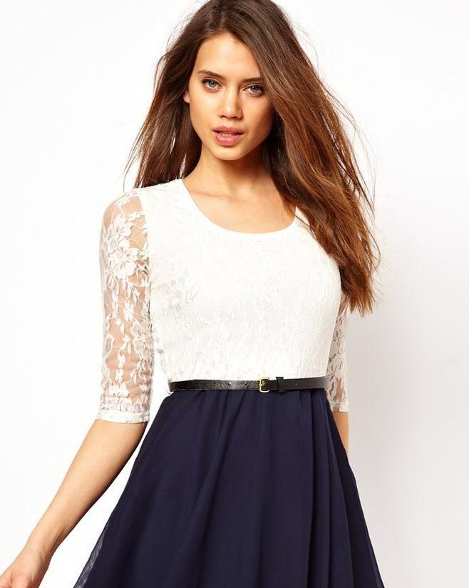 new-europe-women-fashion-three-quarter-sleeve-mini-chiffon-dress-crewneck-lace-top-pleated-casual-243262130