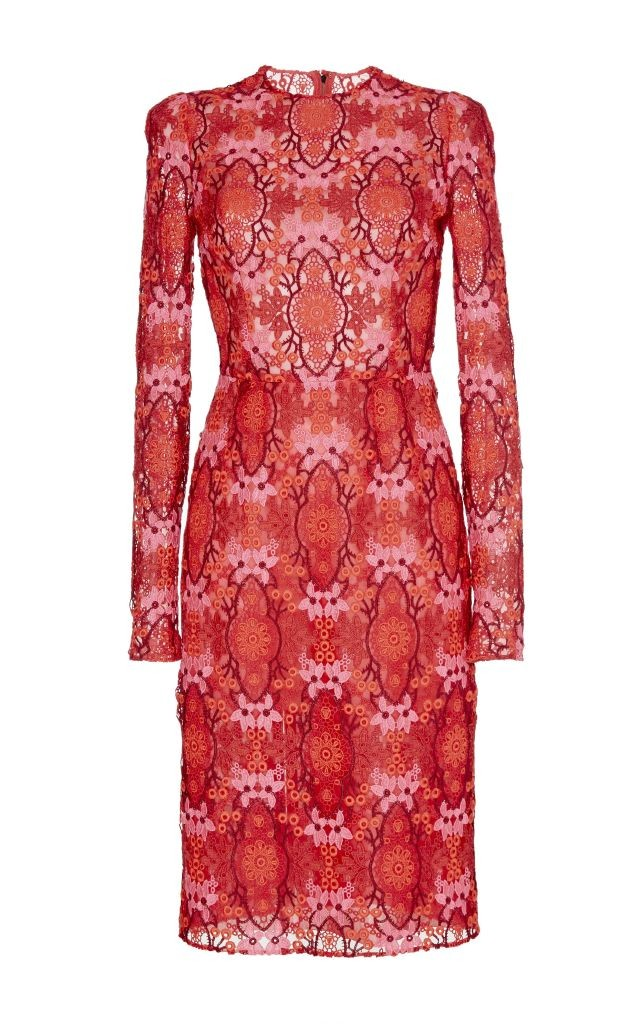 resized_Dolce & Gabbana Red Long Sleeved Macramé Dress $5,995_2