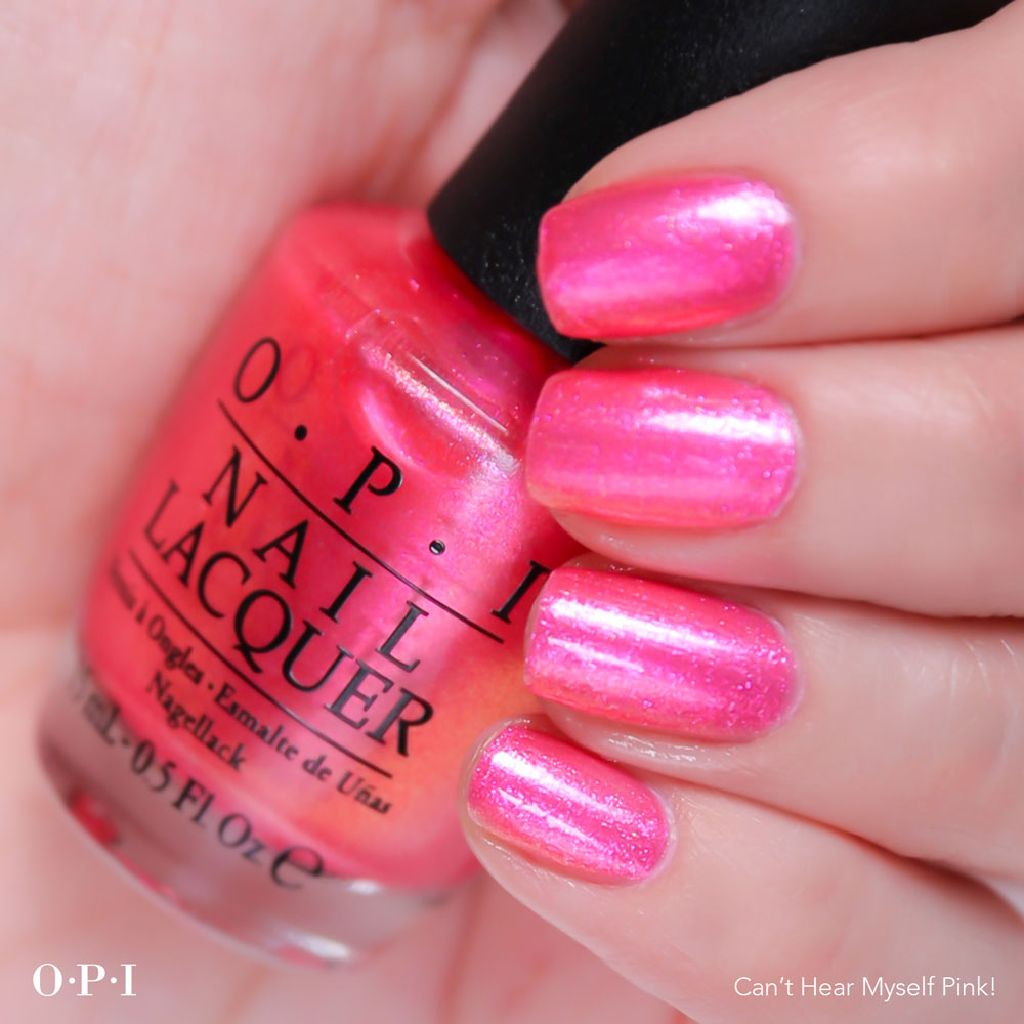 resized_OPI - Brights Collection - Can't Hear Myself Pink - hand visual - AED49