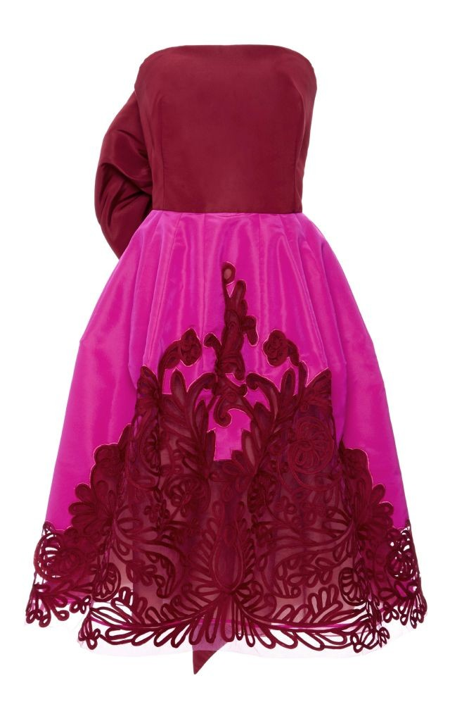resized_Oscar De La Renta Pink and Red Silk Faille Cocktail Dress with Embroidered Overlay $5,750_2