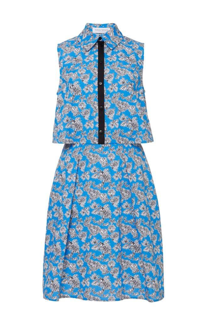 resized_Tanya Taylor Blue Microfloral Florence Shirt Dress $495_2