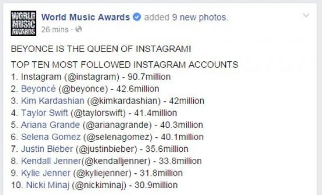 المشاهير الأكثر متابعة على إنستغرام