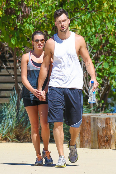 Lea Michele and Matthew Paetz hike under the blazing sun