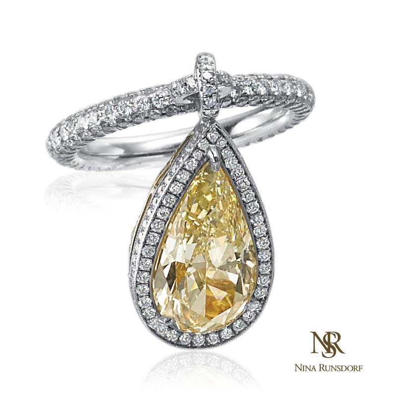 18 K white and yellow gold yellow Diamond Flip Ring with Yellow Diamond Pave Back