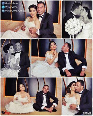 لقطات طريفة تجمع  آيتن عامر بزوجها