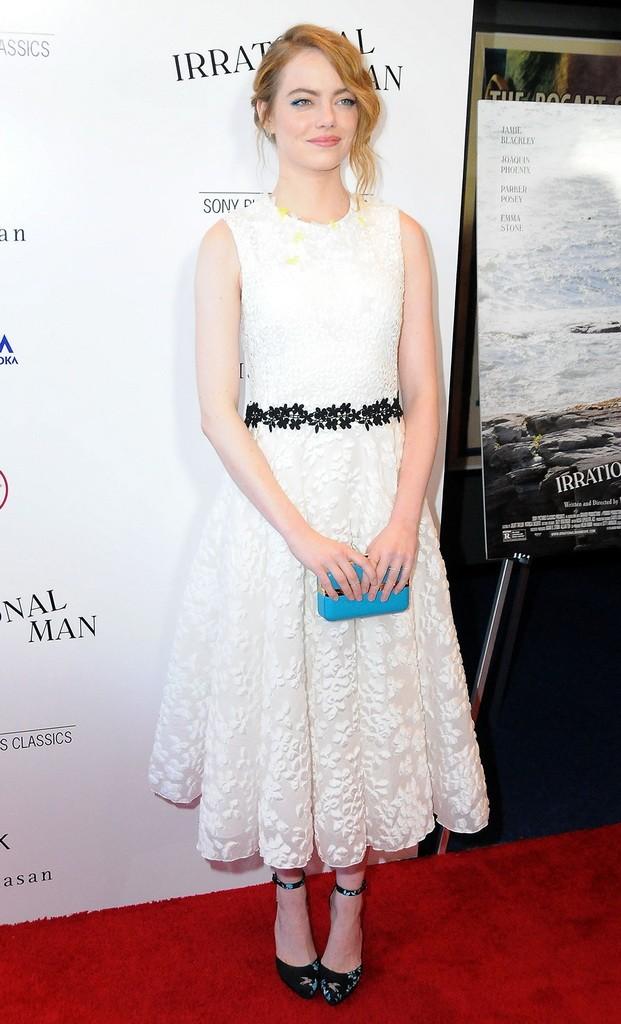 Emma Stone carrying Salvatore Ferragamo