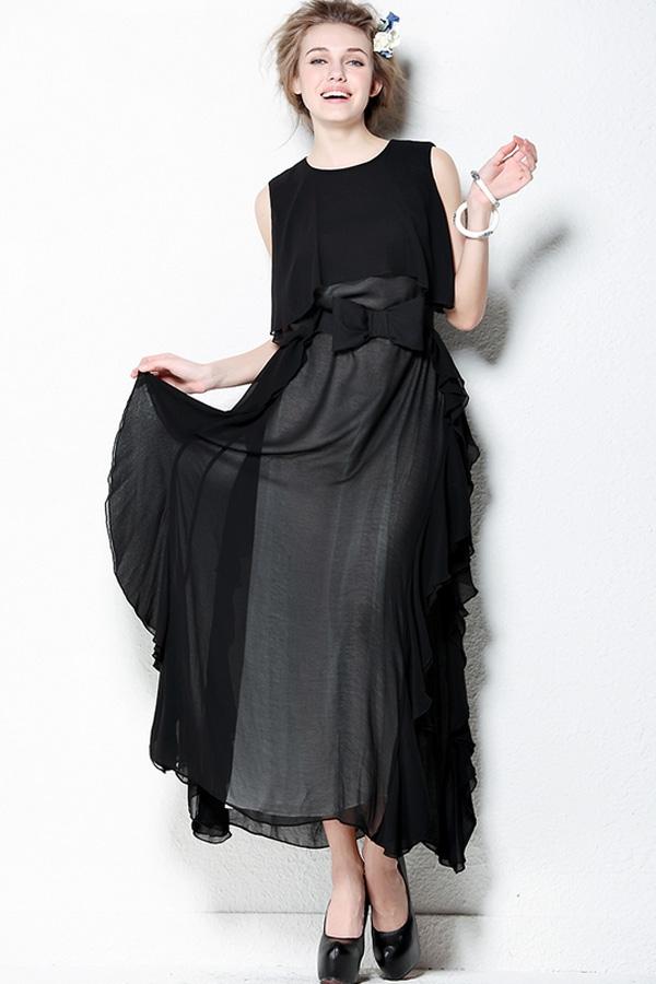 Fashion-Black-Chiffon-Maxi-Dress
