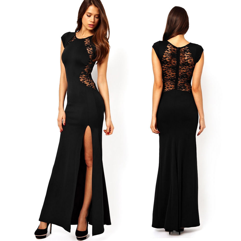 Fashion-Sexy-Women-Black-Lace-Knitting-Dress-Patchwork-Hollow-Back-Slim-Bodycon-Split-Side-Maxi-Casual