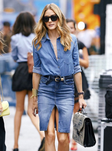 Olivia Palermo seen wearing denim with snakeskin bag while attending the Rebecca Minkoff fashion show during Mercedes Benz Fashion Week in NYC