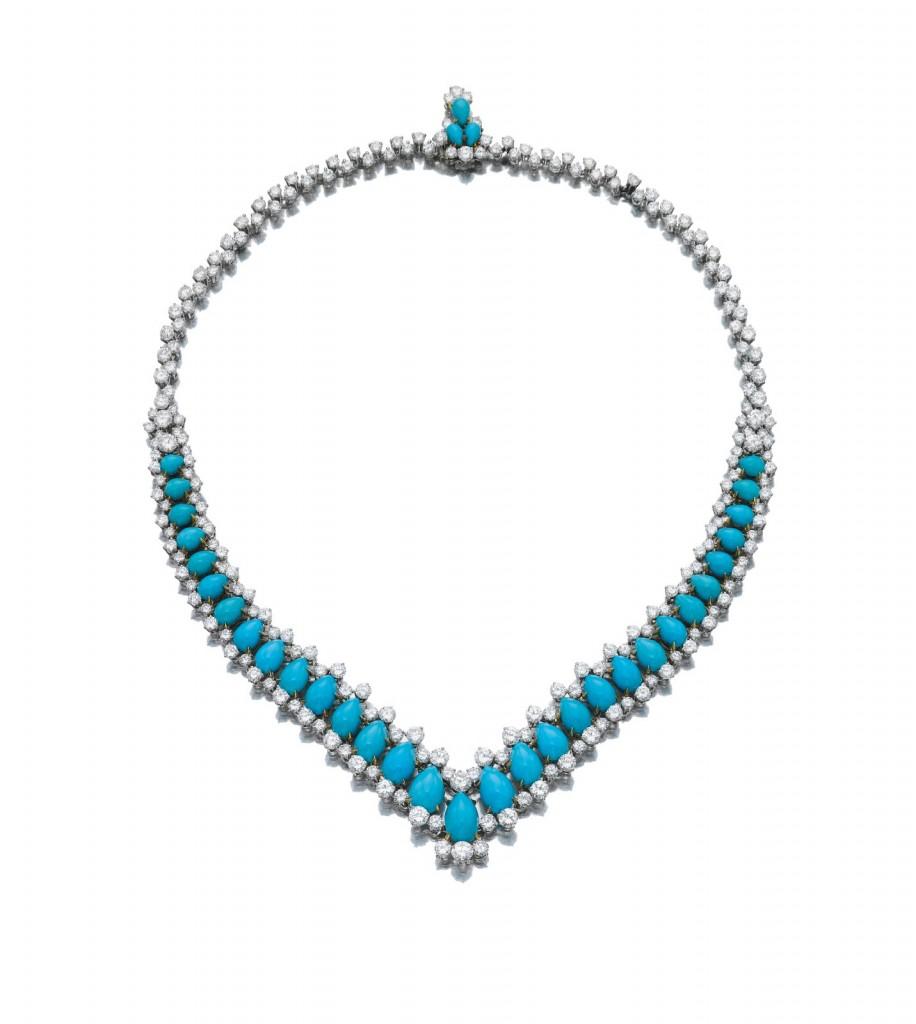 Turquoise and diamond necklace, Bulgari, 1970s[1]
