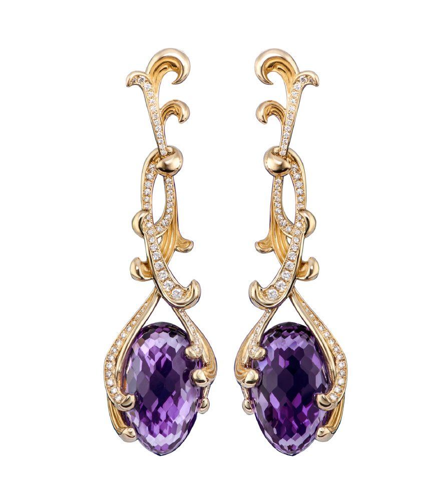 resized_DA14050 011018 Carrera y Carrera Origen earrings in yellow gold, amethysts with diamonds