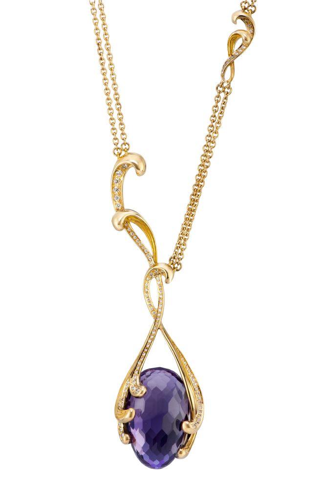 resized_DA14055 011018 Carrera y Carrera Origen maxi necklace in yelllow gold, amethyst with diamonds