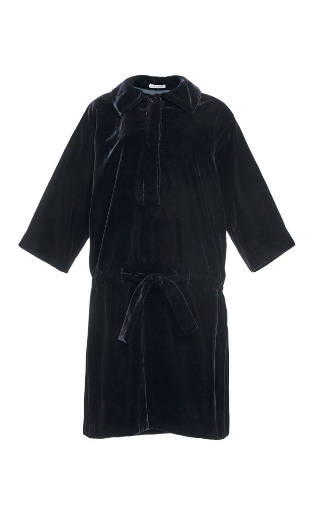 resized_J.W. Anderson Navy Cotton Velvet Drop Waist Dress $895