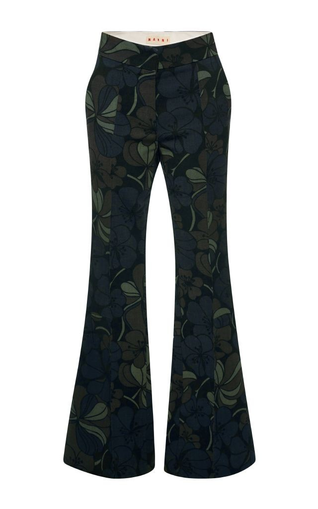 resized_Marni Dark Green Floral Printed Flared Trousers $1,430