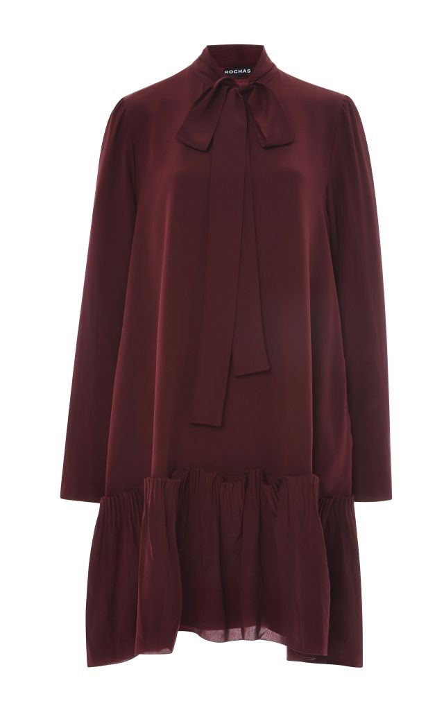 resized_Rochas Burgundy Silk Crepe Bow Neck Dress $1,585