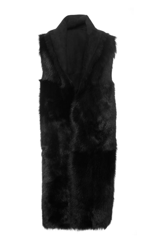 resized_Rosetta Getty Black Shearling Tubular Shawl $4,800