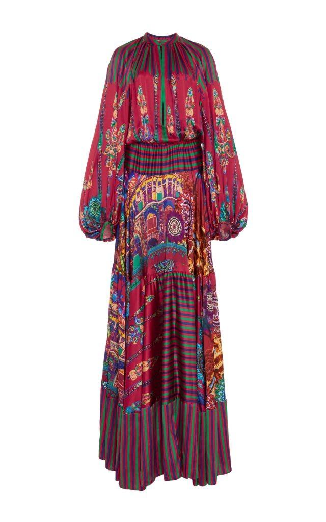 resized_Stella Jean Silk Printed Milwaukee Bell Sleeved Maxi Dress $2,225