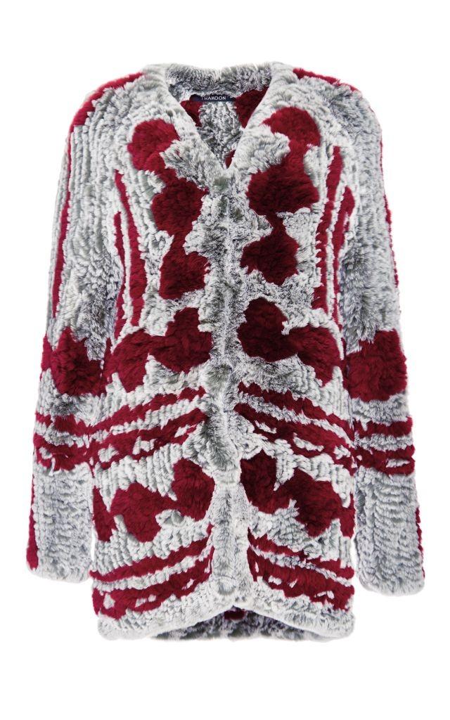 resized_Thakoon Red and Grey Rabbit Fur Cardigan Coat $2,550