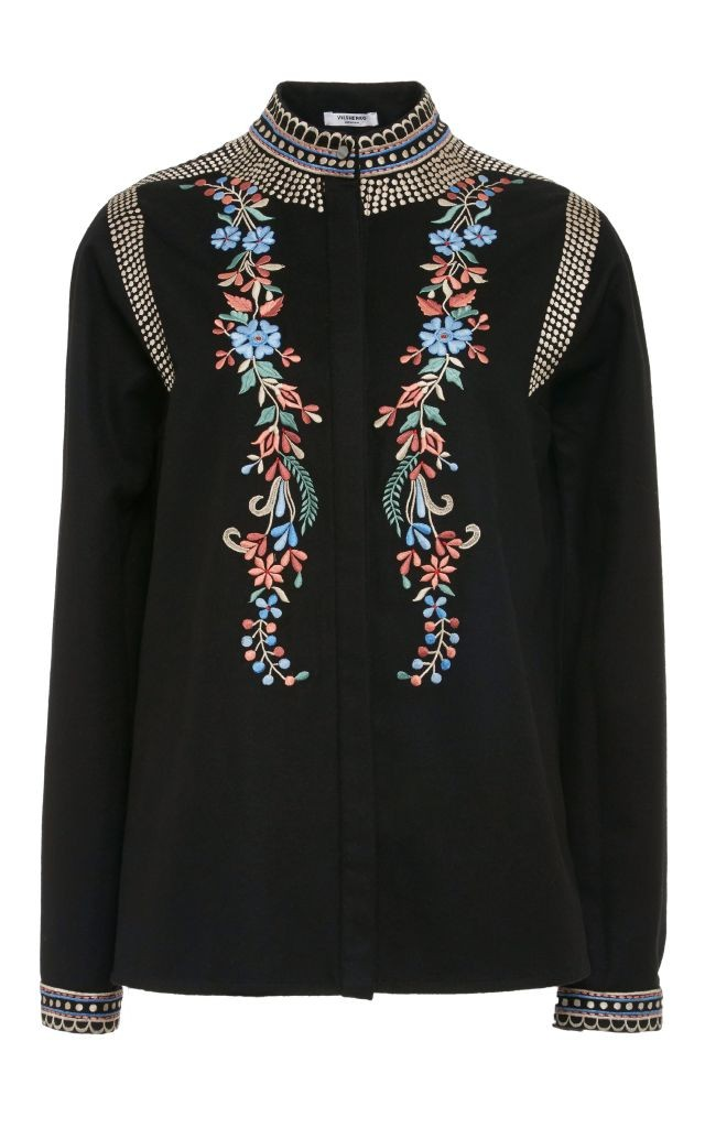 resized_Vilshenko Black Cashmere Wool Embroidered Erin Blouse $700