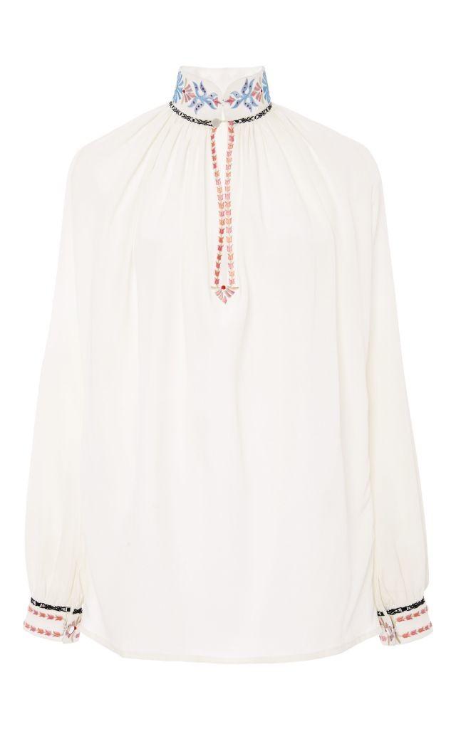 resized_Vilshenko Daria Silk Embroidery Smocking Shirt $700
