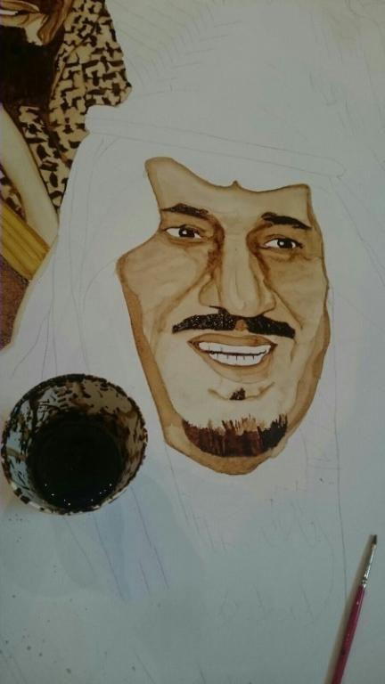 اللوحة رسمت من القهوة والزعفران