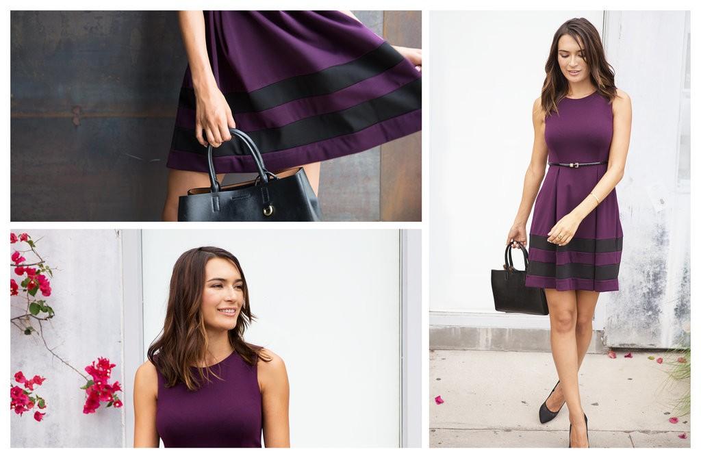 فستان القصير ذو اللون البنفسجي