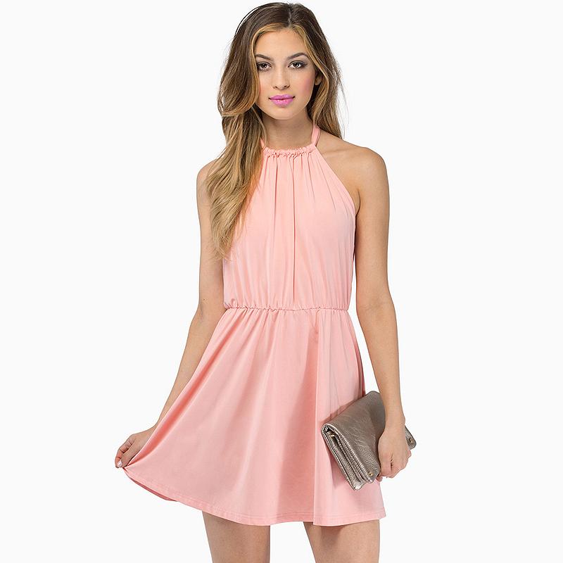 Free-Shipping-American-Styel-Women-Fashion-Pink-Draped-Dress-School-Party-Cute-Shoulder-Naked-Dress
